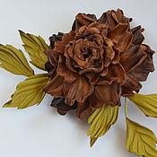 """Украшения handmade. Livemaster - original item Цветы из кожи роза-брошь """"Осенний поцелуй"""". Handmade."""