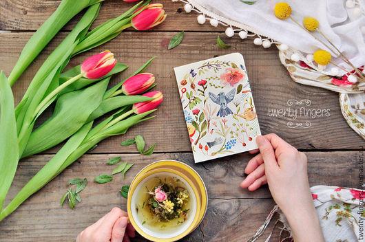 """Блокноты ручной работы. Ярмарка Мастеров - ручная работа. Купить Тетрадь """"Сад"""" А6. Handmade. Кремовый, скетчбук, птица, бумага"""