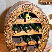 Куклы и игрушки ручной работы. Ярмарка Мастеров - ручная работа Миниатюра 1:12. Шкафчик для винных бутылок. Handmade.