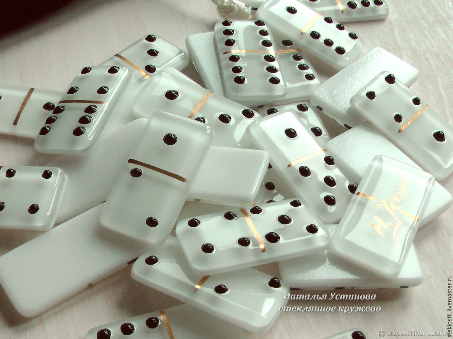 Dominoes - Board game glass - white, fusing, Dominoes, Domodedovo,  Фото №1