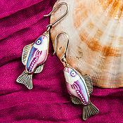 """Украшения ручной работы. Ярмарка Мастеров - ручная работа Серьги """"Рыбки"""" эмаль. Handmade."""