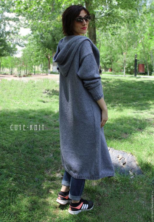 Чтобы лучше рассмотреть модель, нажмите на фото CUTE-KNIT Ната Онипченко Ярмарка мастеров  Купить длинный кардиган с капюшоном и карманами