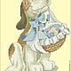 """Вышивка ручной работы. Ярмарка Мастеров - ручная работа. Купить Дизайн машинной вышивки """"Собака с младенцем"""". Handmade. Разноцветный"""