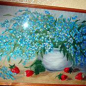 """Картины и панно ручной работы. Ярмарка Мастеров - ручная работа Картина из шерсти """"Незабудки"""". Handmade."""
