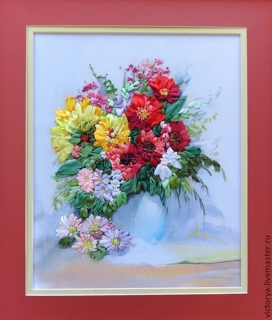 """Картины цветов ручной работы. Ярмарка Мастеров - ручная работа. Купить """"Букет в голубой вазе"""". Handmade. Вышивка лентами"""