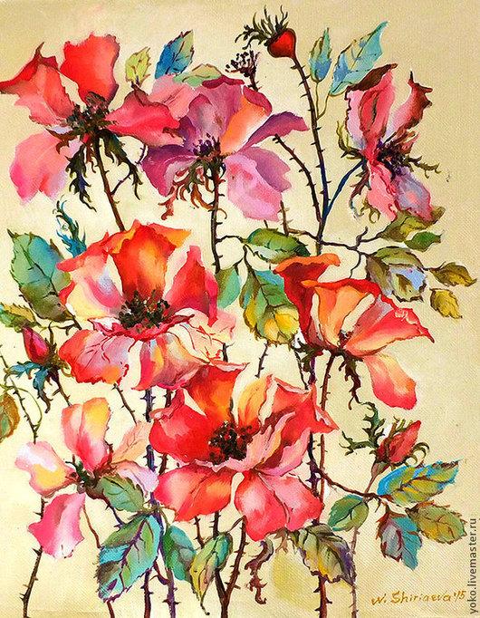 """Картины цветов ручной работы. Ярмарка Мастеров - ручная работа. Купить Картина """"Дикая Роза"""" (холст, масло). Handmade. холст"""