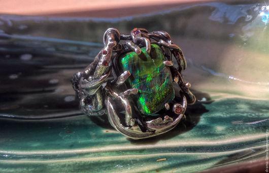"""Кольца ручной работы. Ярмарка Мастеров - ручная работа. Купить Серебряное """"лесное"""" кольцо с опалом. Handmade. Серебро ручной работы"""