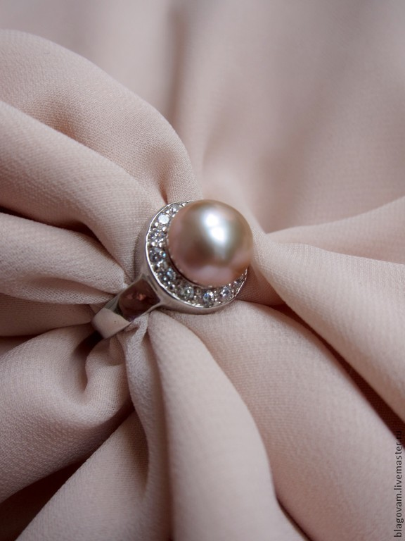 Серебряное кольцо 925 с натуральным пепельно-розовым жемчугом ААА, Кольца, Санкт-Петербург,  Фото №1