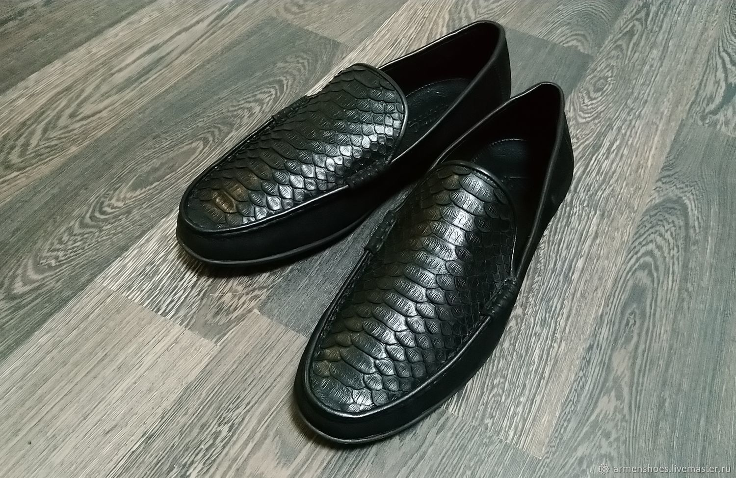 Moccasins made of genuine Python and nubuck leather, in black!, Moccasins, Tosno,  Фото №1