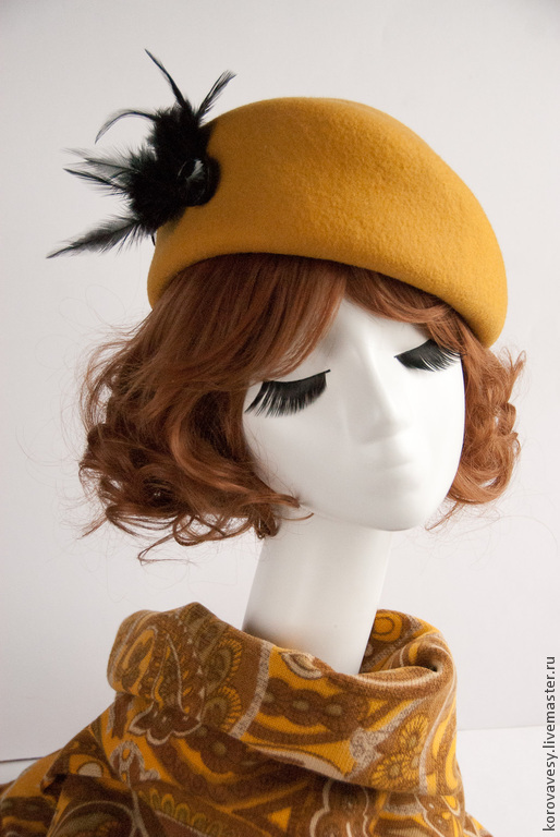 """Шляпы ручной работы. Ярмарка Мастеров - ручная работа. Купить """"Солнечное настроение"""". Handmade. Желтый, фетровая шляпа, городская тема"""