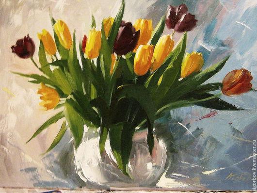 Картины цветов ручной работы. Ярмарка Мастеров - ручная работа. Купить Букет тюльпанов. Handmade. Разноцветный, букет, весенние цветы