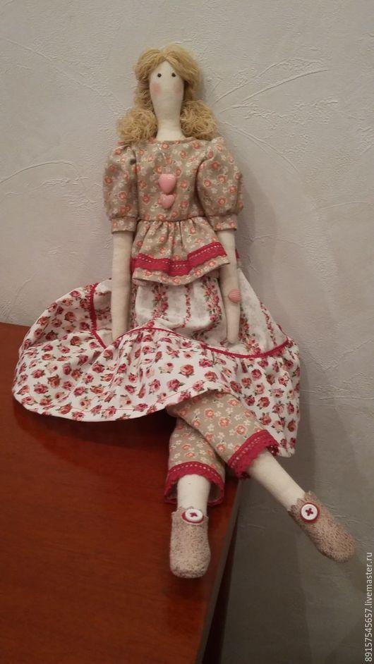 Куклы Тильды ручной работы. Ярмарка Мастеров - ручная работа. Купить Танюша. Handmade. Бледно-розовый, коса, хлопок 100%