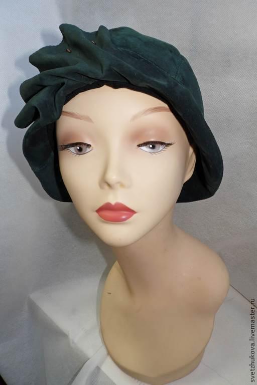Шляпы ручной работы. Ярмарка Мастеров - ручная работа. Купить Шляпка из замши 005-7. Handmade. Однотонный, шляпка