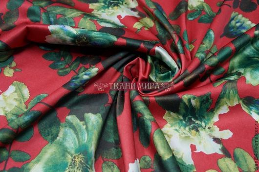 Шитье ручной работы. Ярмарка Мастеров - ручная работа. Купить Ткань плат. сатин набивной 3786, 145 см, малиновый. Handmade.