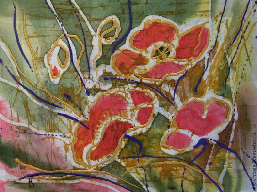 Картины цветов ручной работы. Ярмарка Мастеров - ручная работа. Купить Картина Маки. Шелк, батик. Handmade. Коралловый