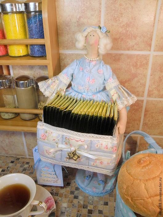 """Куклы Тильды ручной работы. Ярмарка Мастеров - ручная работа. Купить Чайная дама в стиле тильда """"Тая"""". Handmade. Голубой"""