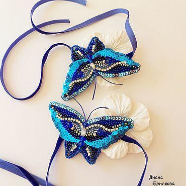 Украшения ручной работы. Ярмарка Мастеров - ручная работа Бабочки на ножки украшение с бархатной тесьмой. Handmade.
