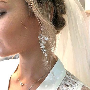 Свадебный салон ручной работы. Ярмарка Мастеров - ручная работа Украшение в прическу невесты и серьги Свадебный комплект. Handmade.