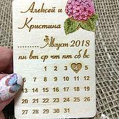 Приглашения ручной работы. Ярмарка Мастеров - ручная работа Гортензия. Свадебные магниты в форме календарика. Handmade.