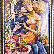 Картины и панно ручной работы. Ярмарка Мастеров - ручная работа Двое и бабочка Картина маслом в раме. Handmade.