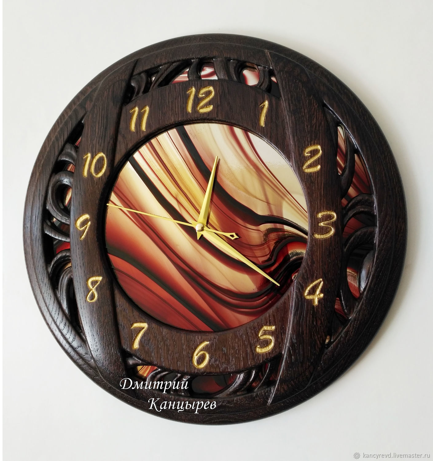 Round wall clock made of wood with stained glass, Watch, Ivanovo,  Фото №1