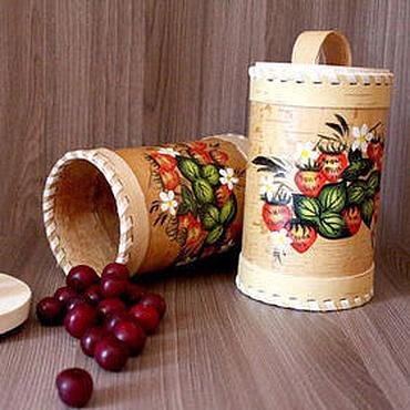 Для дома и интерьера ручной работы. Ярмарка Мастеров - ручная работа Туес из бересты расписной. Тара для хранения чая, соли, сахара. Handmade.