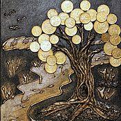 Картины ручной работы. Ярмарка Мастеров - ручная работа Панно денежное дерево луна. Handmade.