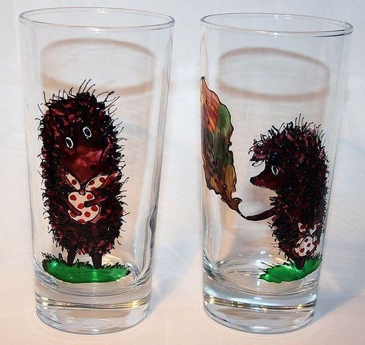 Бокалы, стаканы ручной работы. Ярмарка Мастеров - ручная работа. Купить Ежики в тумане (бокалы). Handmade. Ежик, краски