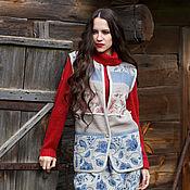 Одежда handmade. Livemaster - original item Women`s linen vest boho dried Flowers. Handmade.