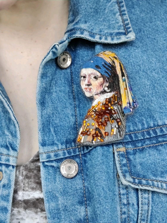 """Брошь """"Девушка с жемчужной серёжкой"""", Брошь-игла, Москва,  Фото №1"""