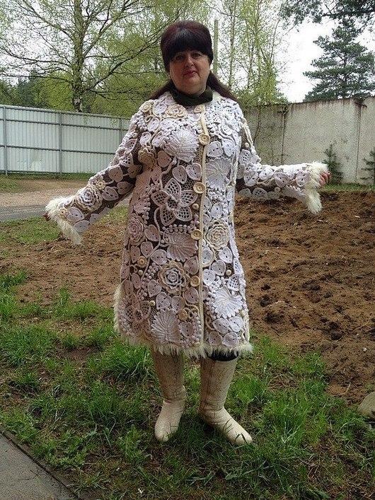 """Верхняя одежда ручной работы. Ярмарка Мастеров - ручная работа. Купить Пальто в технике """"ирладское кружево"""". Handmade. Белый"""