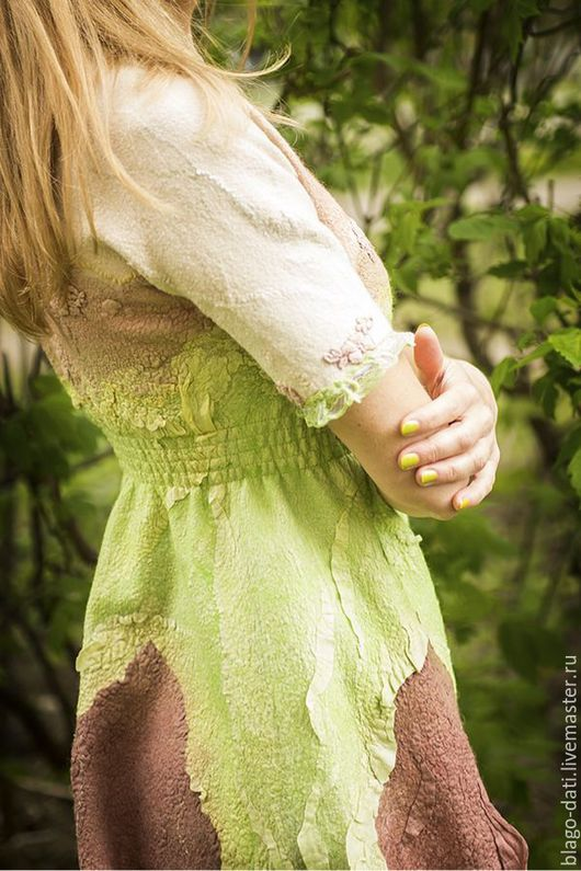 """Платья ручной работы. Ярмарка Мастеров - ручная работа. Купить Валяное платьице """"Яблоневый цвет"""". Handmade. Авторская ручная работа"""