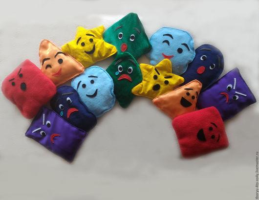"""Развивающие игрушки ручной работы. Ярмарка Мастеров - ручная работа. Купить Тактильные мешочки """"Радуга эмоций"""". Handmade. Комбинированный, развивайка"""