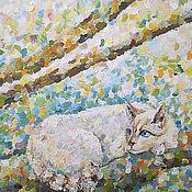 Картины и панно ручной работы. Ярмарка Мастеров - ручная работа Картина. Котик отдыхает на цветущей яблони.. Handmade.