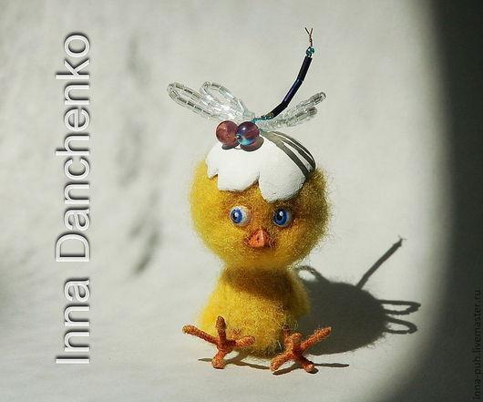 Цыпленок и стрекоза, валяная игрушка, стрекоза из бисера, Данченко Инна