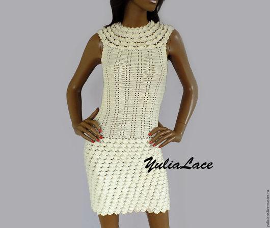 Платья ручной работы. Ярмарка Мастеров - ручная работа. Купить Вязаное платье. Handmade. Бежевый, платье вязаное