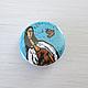 Броши ручной работы. Ярмарка Мастеров - ручная работа. Купить Значок «Девушка с собачкой». Handmade. Голубой, значок, птичка, пластик