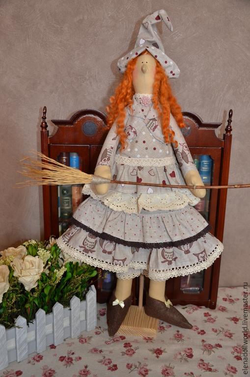 Куклы Тильды ручной работы. Ярмарка Мастеров - ручная работа. Купить Тильда,,Ведьмочка винтажная,,. Handmade. Бежевый, совы, винтаж