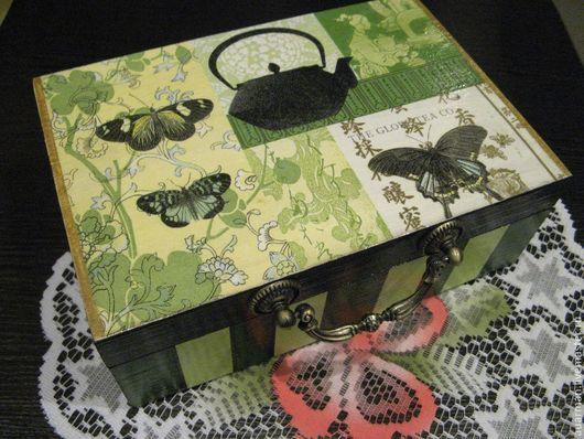 Шкатулки ручной работы. Ярмарка Мастеров - ручная работа. Купить Шкатулка для чая декупаж Зеленый чай. Handmade. Чайная коробка