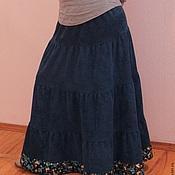 Одежда ручной работы. Ярмарка Мастеров - ручная работа Юбка длинная вельветовая синяя с каймой. Handmade.