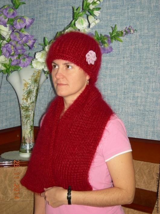 Шапки ручной работы. Ярмарка Мастеров - ручная работа. Купить Комплект Зимний шапка и шарф. Handmade. Бордовый, зимняя шапка