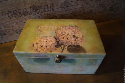 """Шкатулки ручной работы. Ярмарка Мастеров - ручная работа. Купить Шкатулка """"Гортензия"""". Handmade. Оливковый, шкатулка деревянная, подарок женщине"""