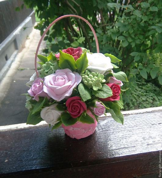Интерьерные композиции ручной работы. Ярмарка Мастеров - ручная работа. Купить Корзинка с розами из полимерной глины. Handmade. Розы