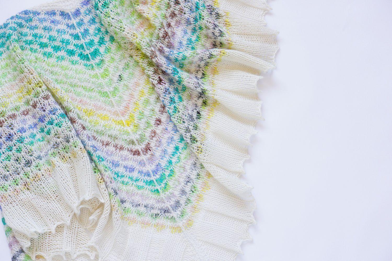 Вязаная разноцветная треугольная шаль Mosaic, Шали, Ногинск,  Фото №1