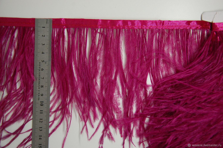 Trim of ostrich feathers 10-15 cm dark fuxia, braid, Moscow,  Фото №1