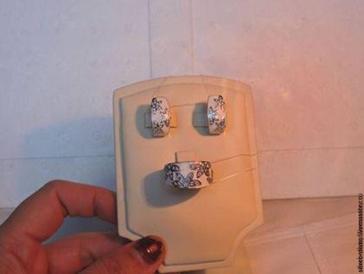 Комплекты украшений ручной работы. Ярмарка Мастеров - ручная работа. Купить Комплект из серебра. Handmade. Белый, комплект из серебра