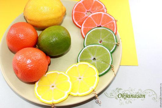 """Серьги ручной работы. Ярмарка Мастеров - ручная работа. Купить Серьги """"Лимоны"""", """"Лаймы"""", """"Мандарины"""", """"Апельсины"""". Handmade. Лимонный, цитрус"""