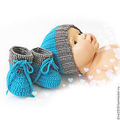Работы для детей, handmade. Livemaster - original item hat and booties gift for an extract kit turquoise. Handmade.