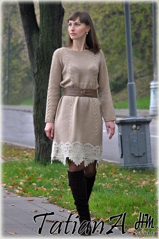 Платья ручной работы. Ярмарка Мастеров - ручная работа. Купить Вязаное платье с кружевом. Handmade. Комбинированный, платье с кружевом
