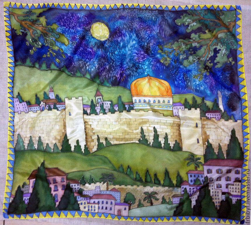"Батик платок ""Иерусалим"", Шарфы и шарфики, Хайфа, Фото №1"